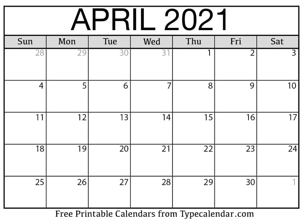 April 2021 Calendar