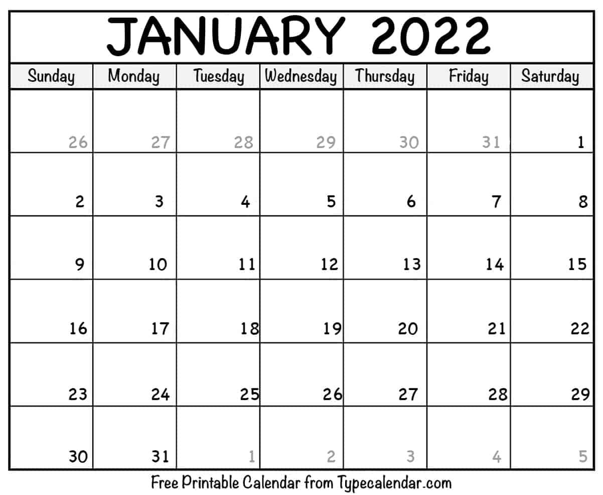Blank January 2022 Calendar