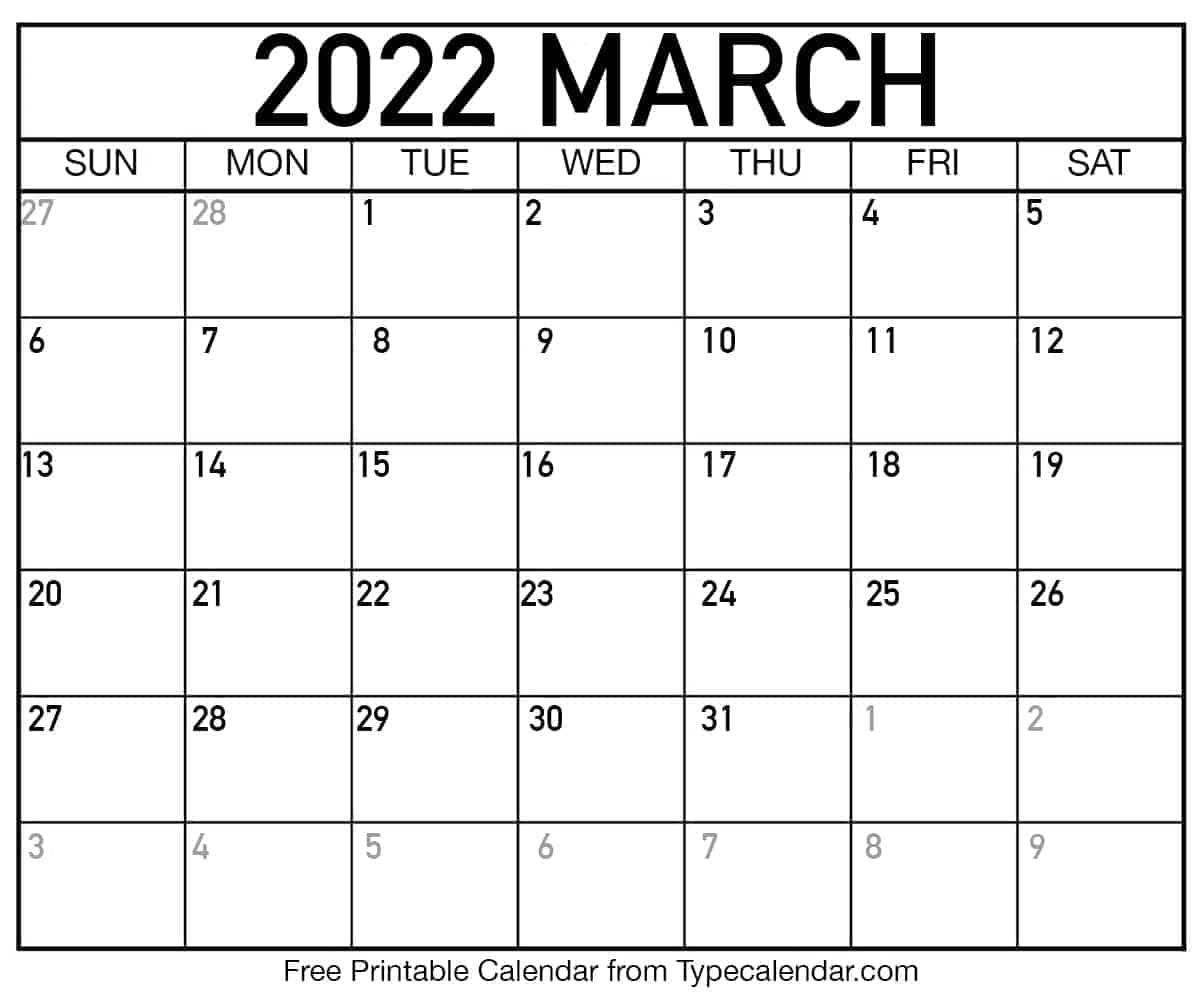 Blank March Calendar 2022