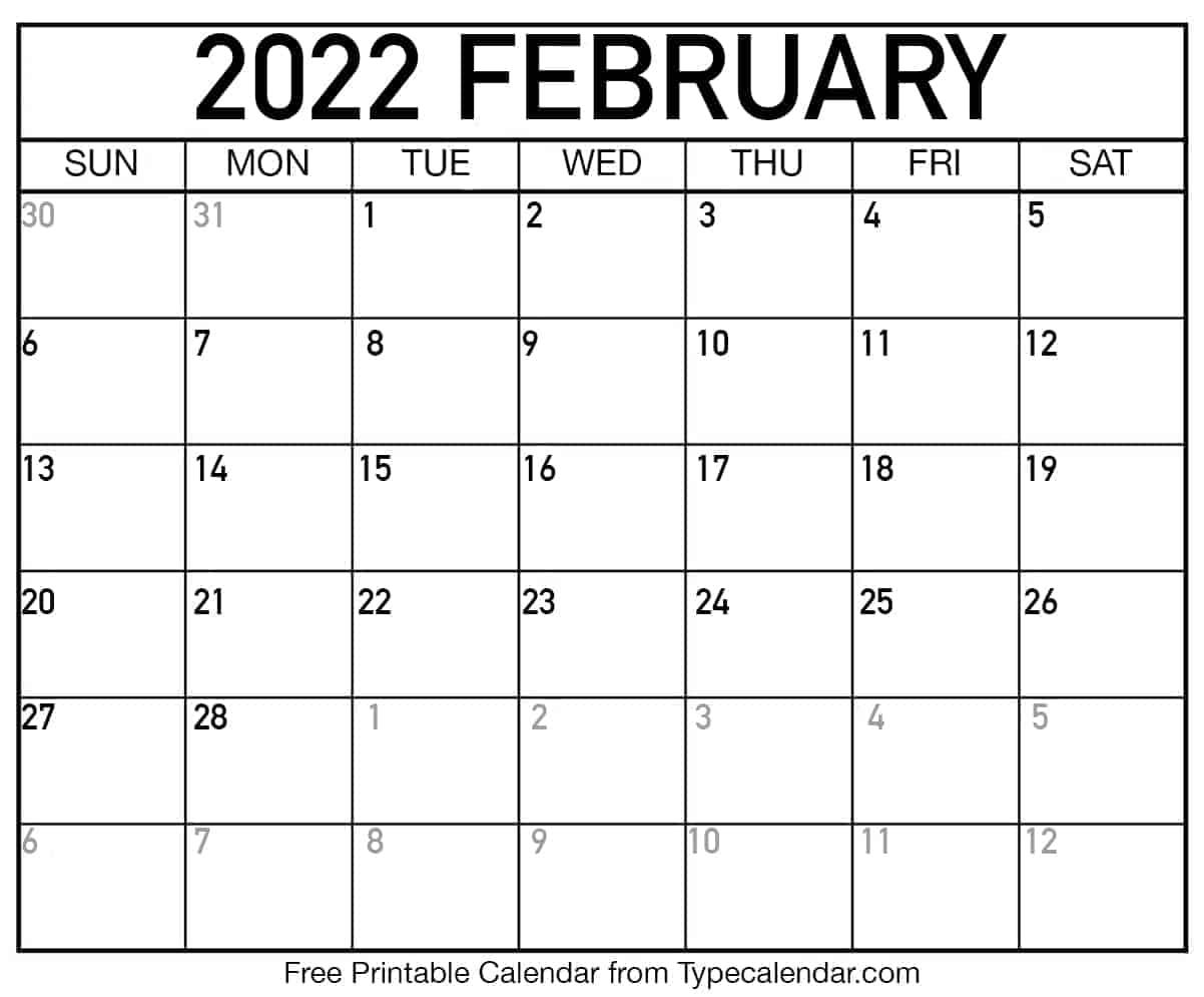 Calendar February 2022