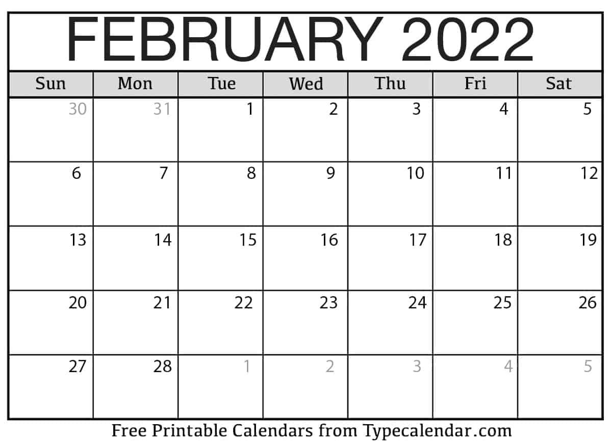 Calendar Feb 2022 Printable.Free Printable February 2022 Calendars