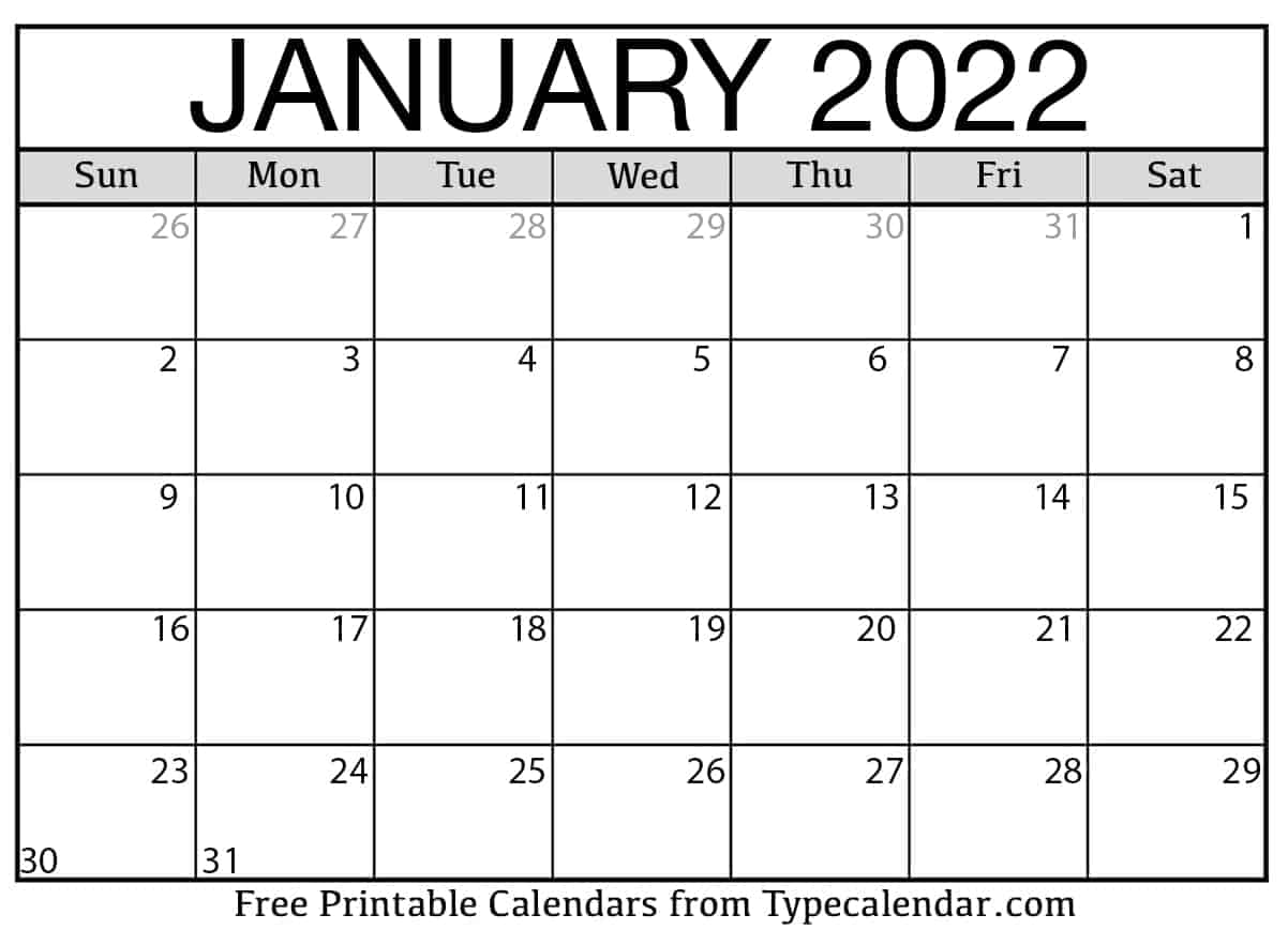 2022 January Calendar Printable.Free Printable January 2022 Calendars