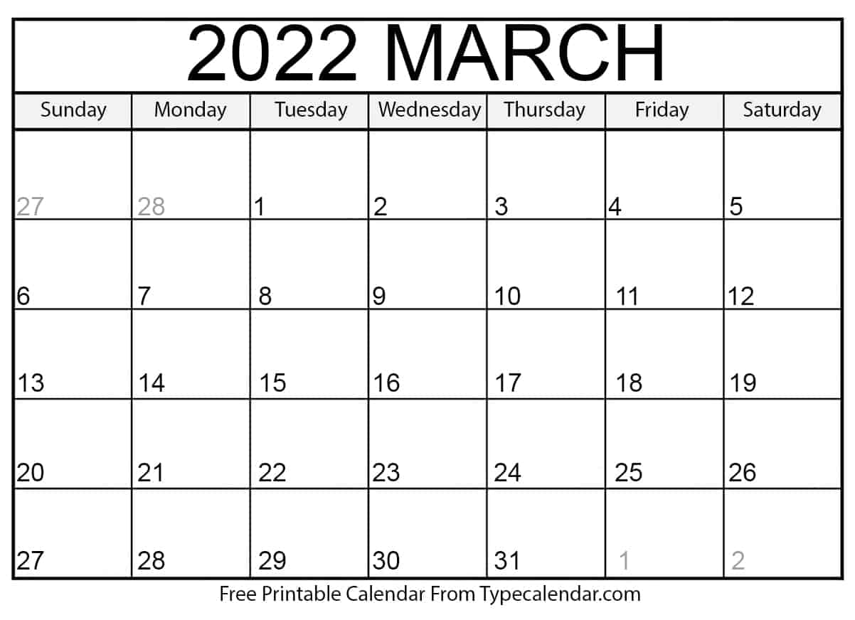 March Blank Calendar 2022.Free Printable March 2022 Calendars