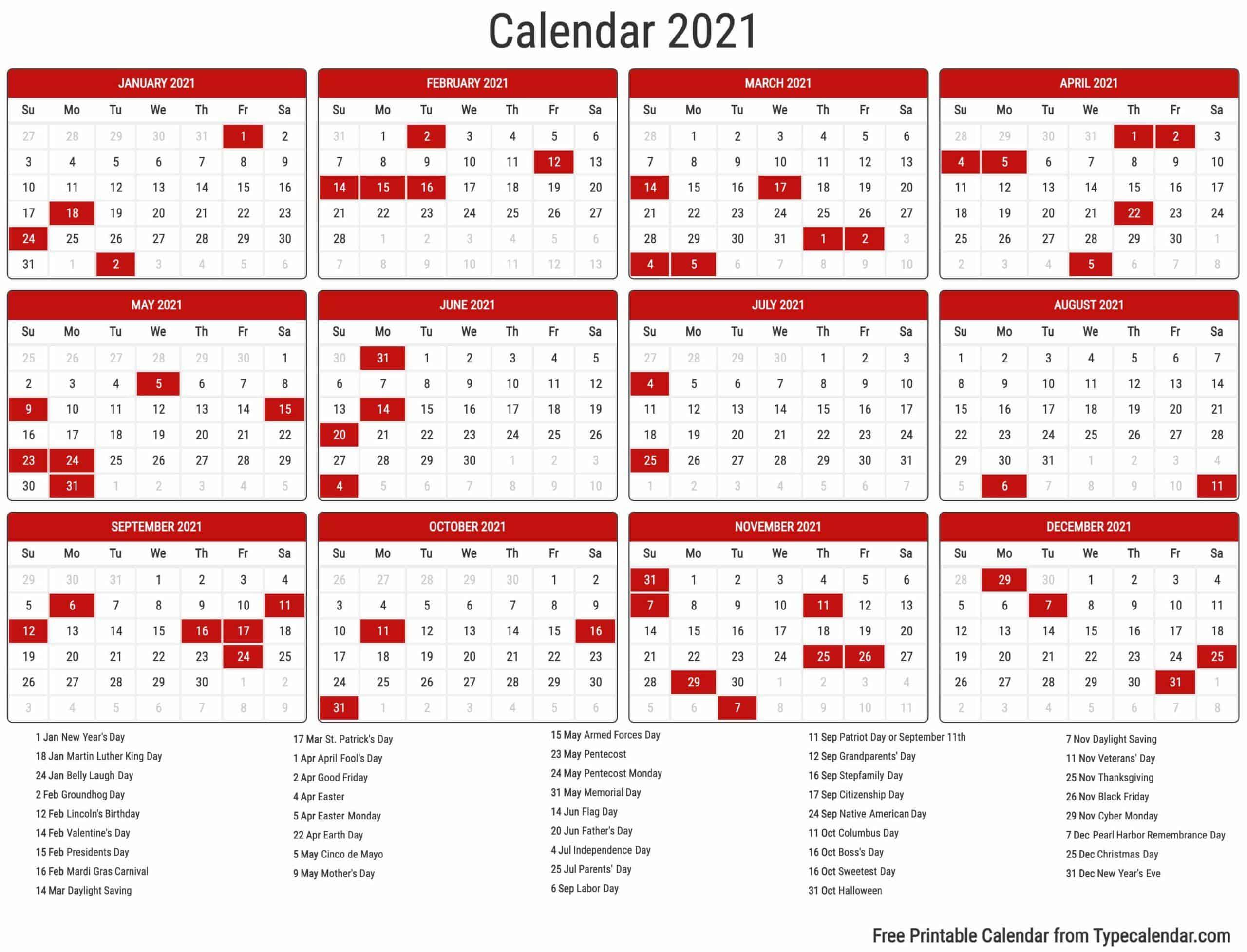 Free Printable Year 20 Calendar   Type Calendar