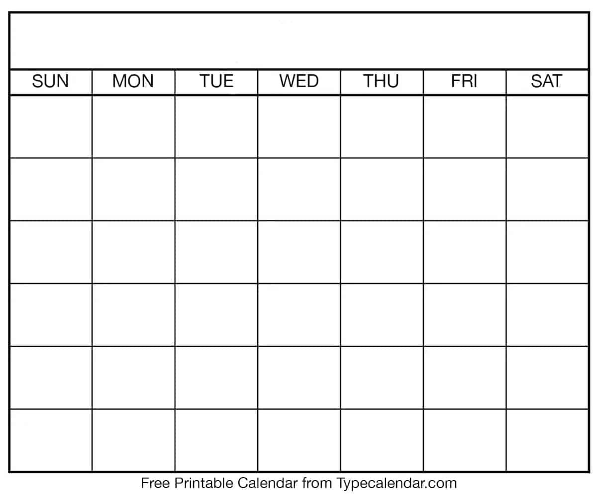 Free Printable Blank Calendar Templates