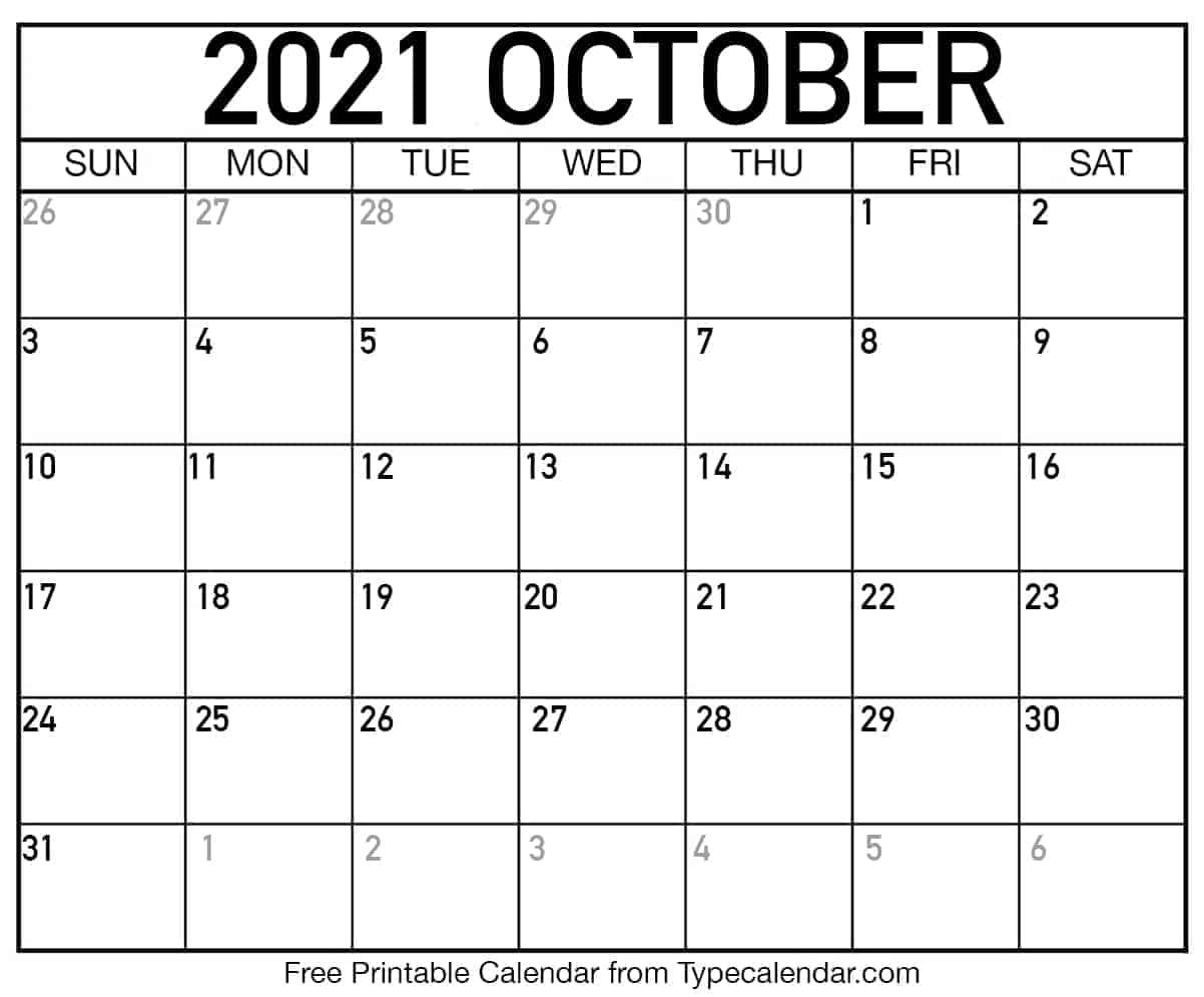 October Printable Calendar 2021