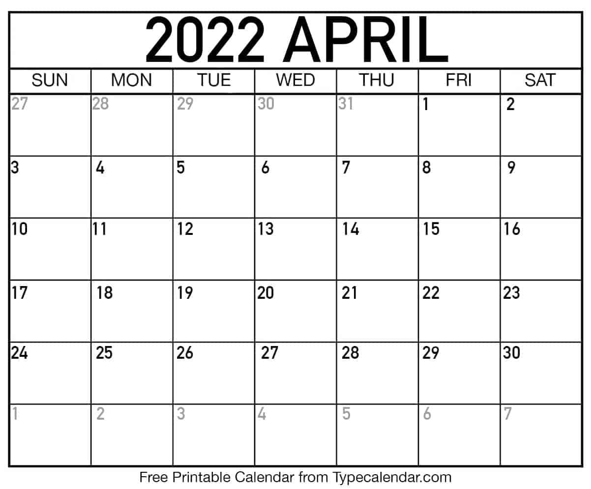 April Printable Calendar 2022