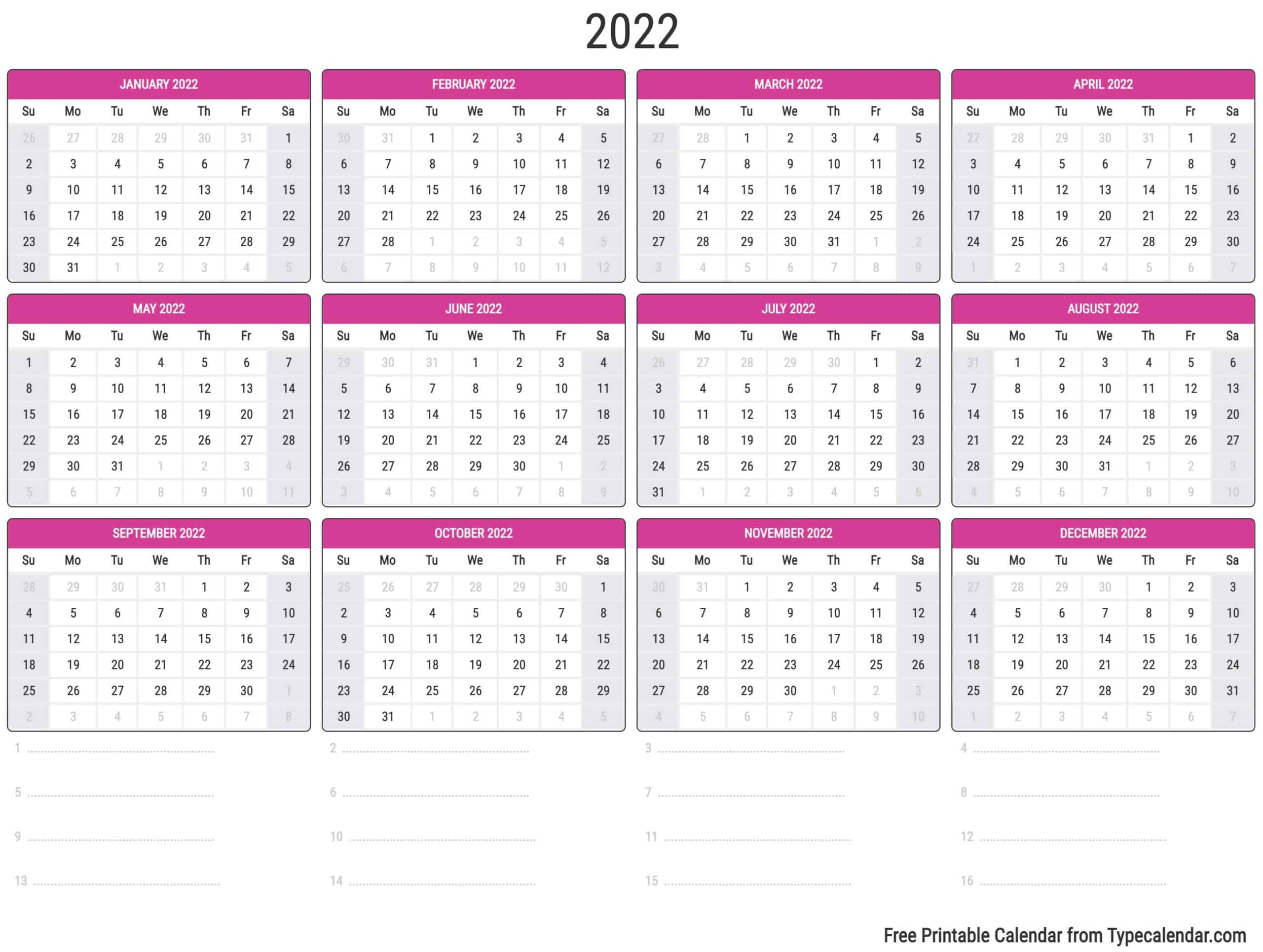2022 2023 Calendar.Free Printable Year 2022 Calendar Type Calendar
