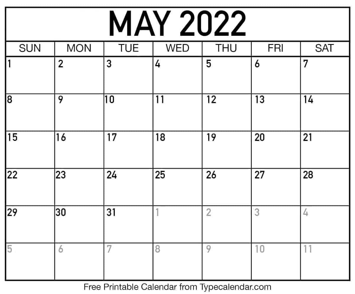 Printable 2022 May Calendar