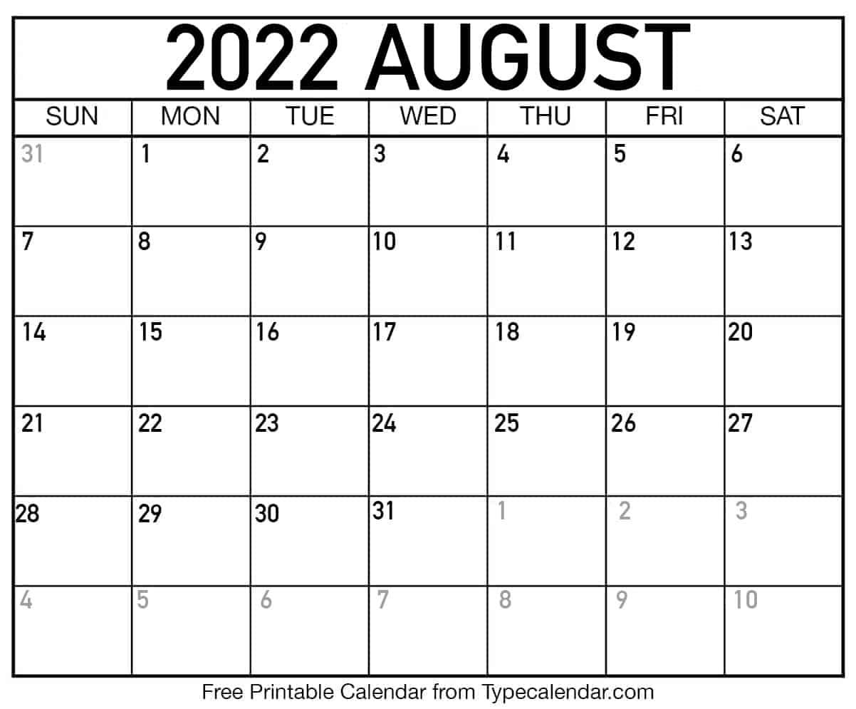 August 2022 Calendar Printable