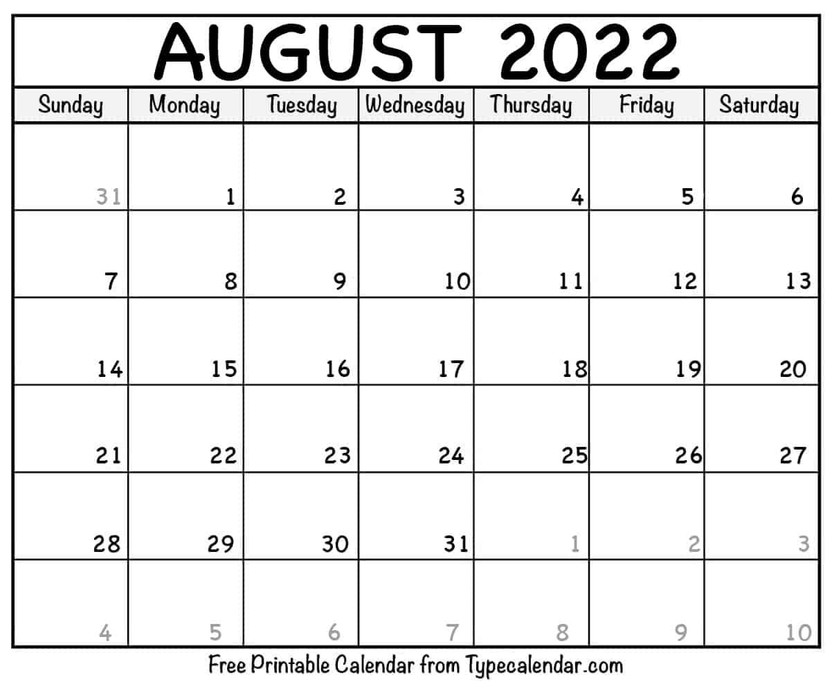 August Calendar 2022