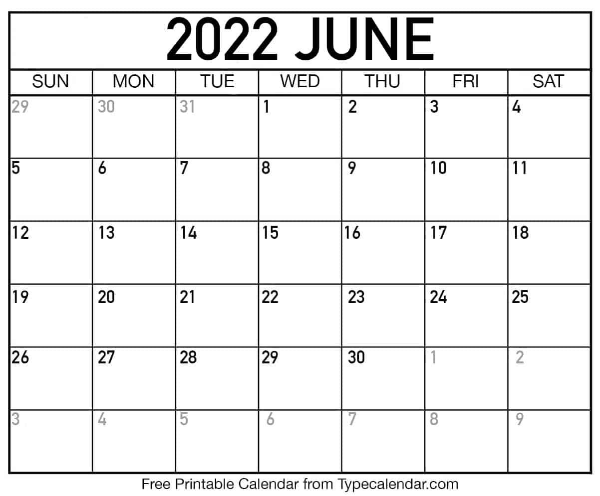 Calendar June 2022