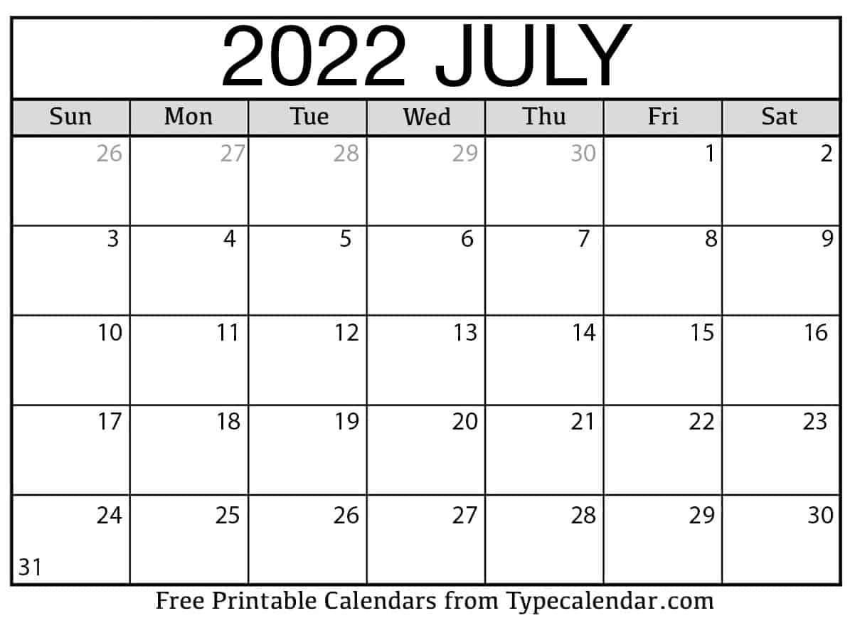 July 2022 Calendar