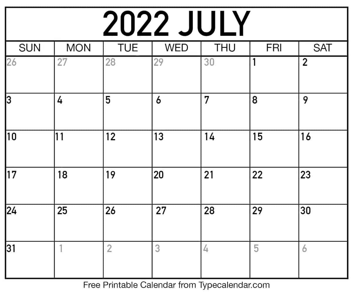 July Printable Calendar 2022